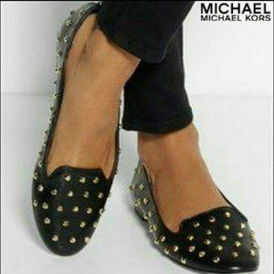 Michael Kors Ailee Gold Studded Flats - Size 9.5